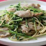 豚肉と豆苗の中華風そば